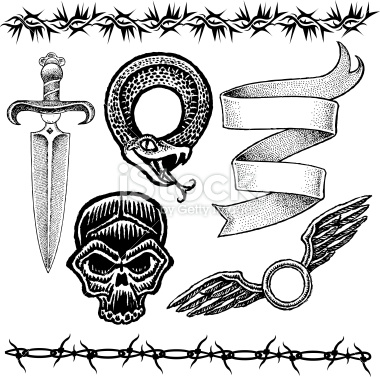 Knife Skull Snake Barbed Wire Ribbon Wings Tattoo Designs