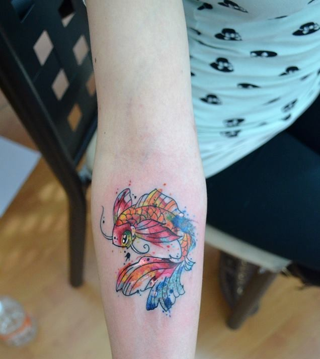 Koi Fish Watercolor Tattoo On Forearm