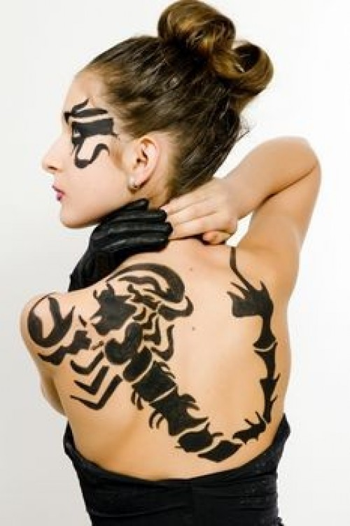 Lare Black Scorpion Tattoo On Back
