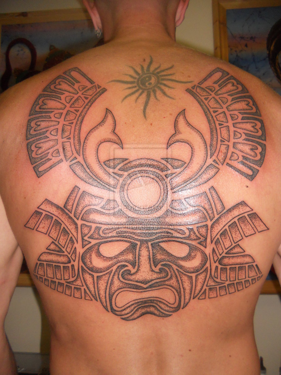 Large Dotwork Samurai Helmet Tattoo On Backbody