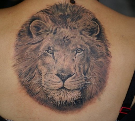 Large Grey Animal Head Tattoo On Back