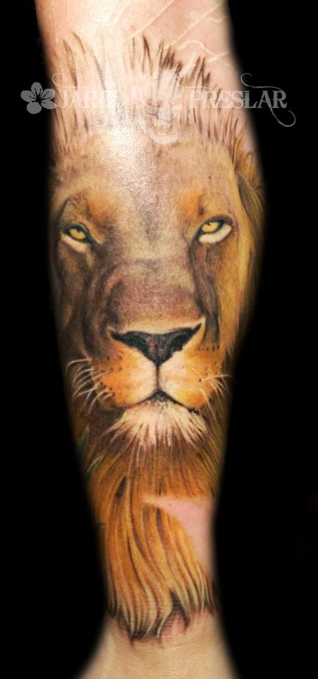 Large Lion Head Tattoo On Sleeve