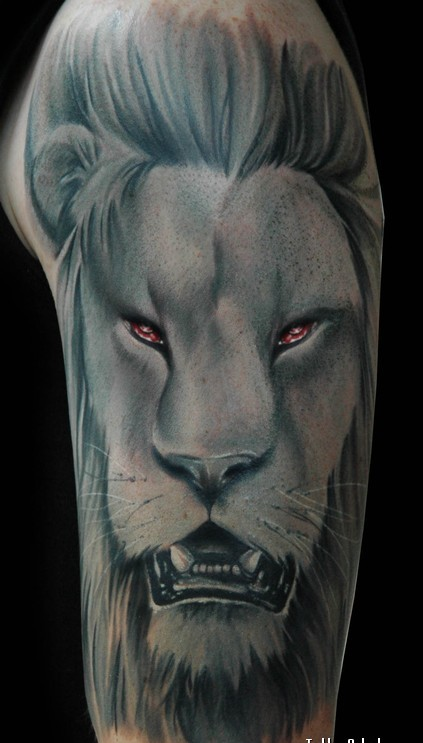 Large Lion Portrait Tattoo On Sleeve