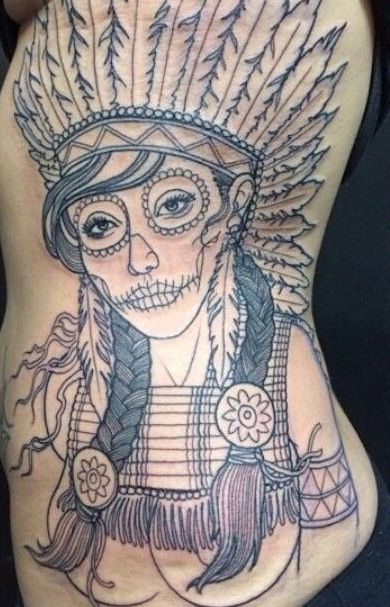 Large Native American Girl Outline Tattoo On Ribs
