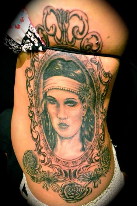Large Portrait In Antique Frame Tattoo
