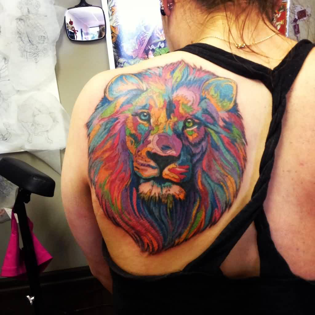 Large Watercolor Lion Head Tattoo On Left Back Shoulder