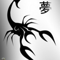 Latest Black Chinese Scorpion Tattoo Design