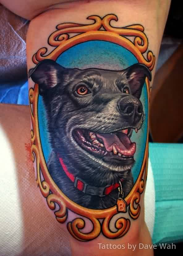 Latest Black Dog Portrait In Frame Tattoo