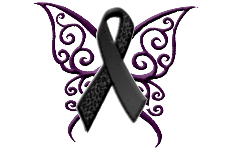 Latest Butterfly Cancer Ribbon Tattoo Stencil