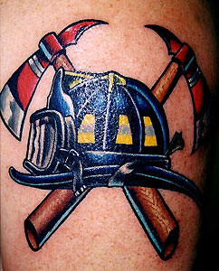 Latest Firefighter's Helmet And Axe Tattoos
