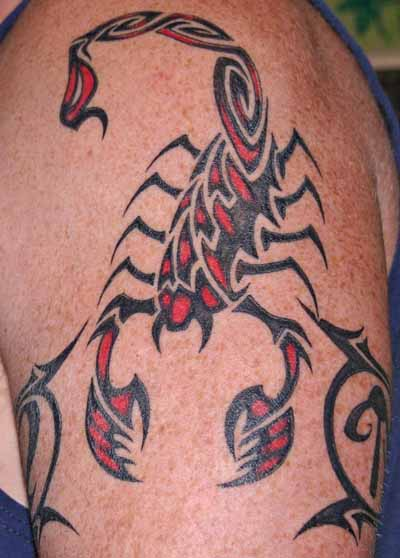 Latest Red-Black Scorpion Tattoo