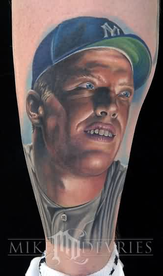 Latest Sports Person Portrait Tattoo