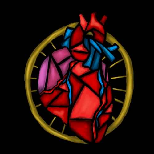 Latest Stained Glass Heart Tattoo Design