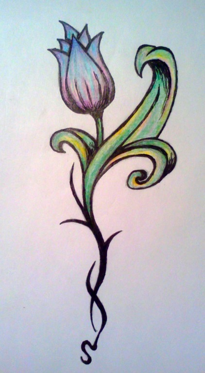 Latest Tribal Tulip Tattoo Design