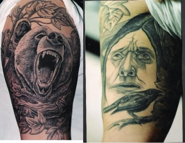 Leaves And Roaring Bear Tattoos On Half Sleeve