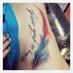 Lettering And Feather Watercolor Tattoo