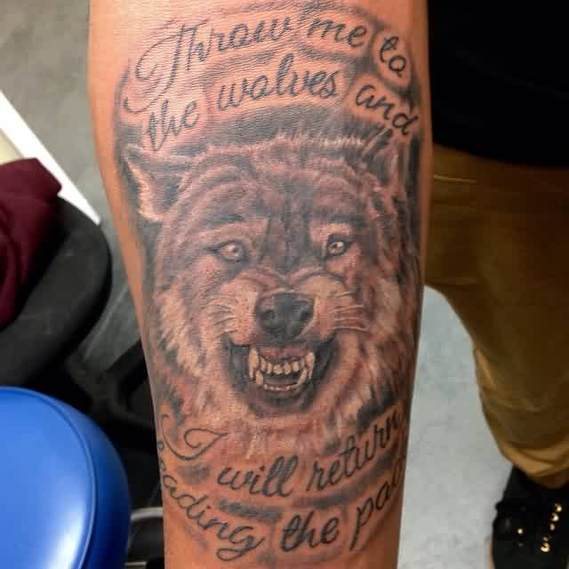 Lettering And Wolf Portrait Tattoos