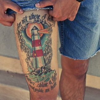 Lettering Clouds And Lightning Lighthouse Tattoos On Thigh