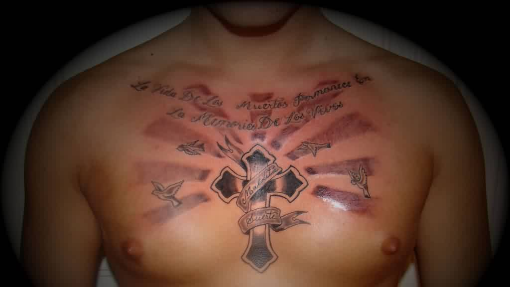 Lettering Cross And Pigeons Tattoos On Chest