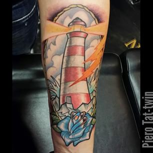 Lighning Lighthouse And Rose Tattoos