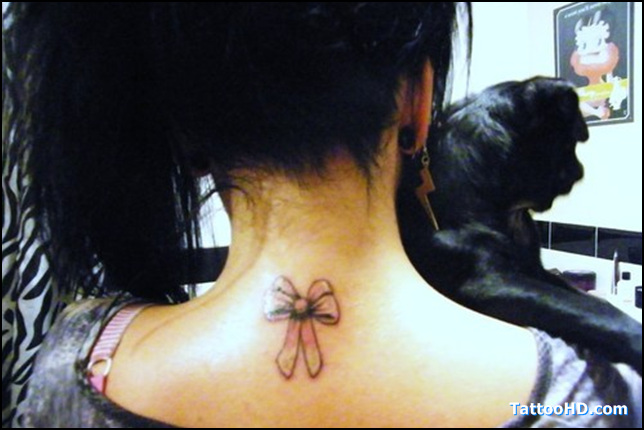 Light Ink Ribbon Bow Tattoo On Back Neck