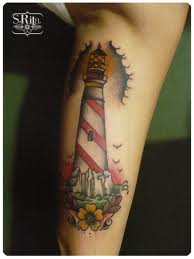 Lighthouse And Flower Tattoos