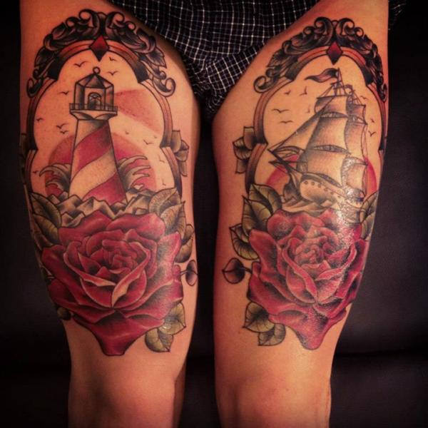 Lighthouse And Ship Frame Tattoos On Thigh