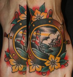 Lighthouse And Ship In Wheel Tattoo