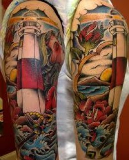 Lighthouse And Wave Tattoos On Sleeve