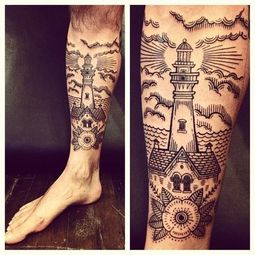 Lighthouse House And Flower Tattoos On Leg