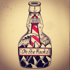 Lighthouse In Bottle Tattoo Flash