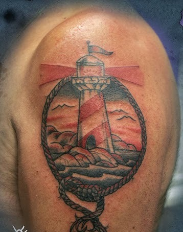 Lighthouse Portrait Landscape Tattoos On Biceps