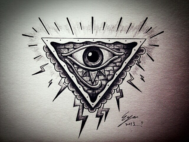 Lightning Eye Pyramid Tattoo Flash