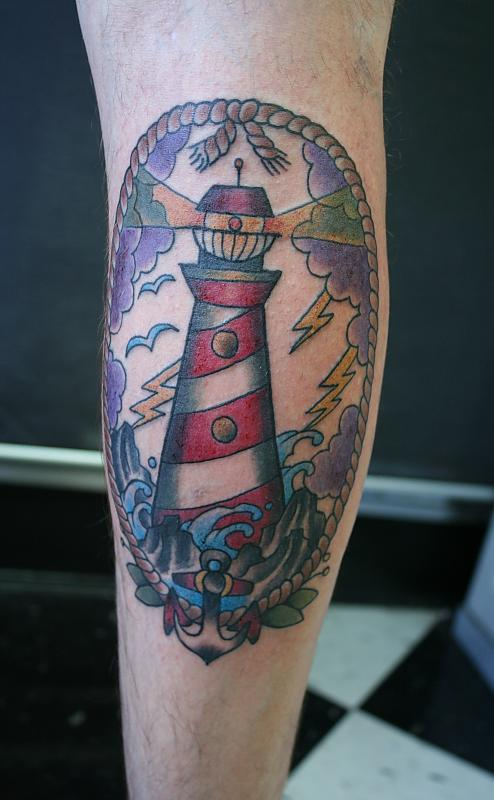 Lightning Lighthouse And Anchor Tattoos On Leg