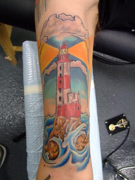 Lightning Lighthouse And Blue Wave Tattoos