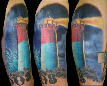 Lightning Lighthouse And Number Tattoos