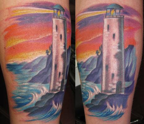 Lightning Lighthouse Beach View Tattoo