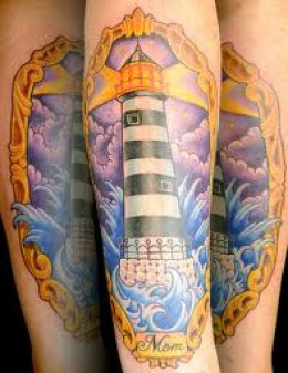 Lightning Lighthouse In Frame Tattoo
