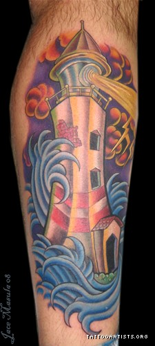 Lightning Lighthouse In Wave Tattoo (2)