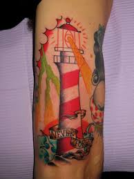 Lightning Lighthouse Tattoo On Leg