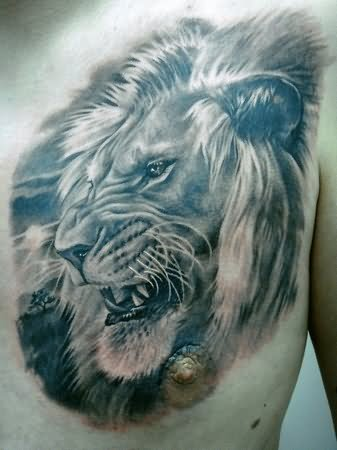 Lion Face Portrait Tattoo On Chest