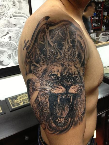 Lion King Tattoo On Half Sleeve For Men