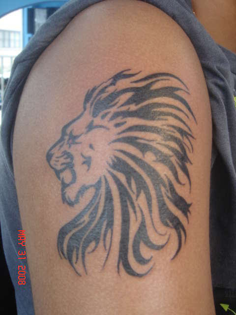 Lion Tribal Head Tattoo On Biceps