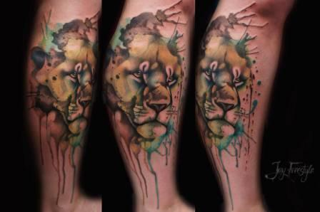 Lion Watercolor Tattoo On Leg