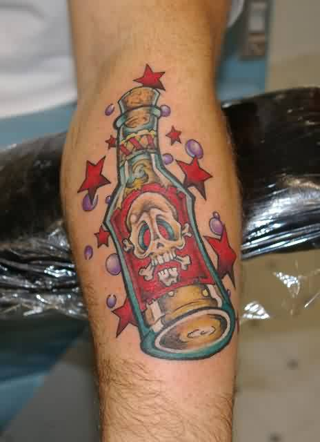 Liquor Bottle And Stars Bubble Tattoos On Arm
