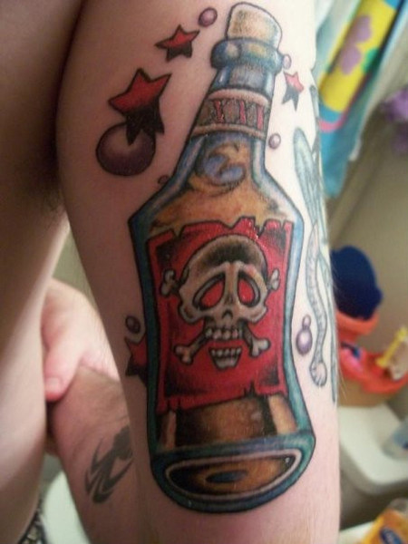 Little Stars Around Poison Bottle Tattoo