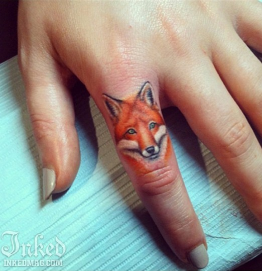 Little Watercolor Fox Tattoo On Finger