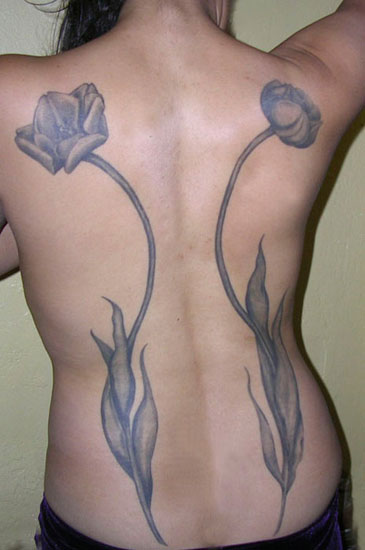 Long Grey Tulip Tattoos On Backbody