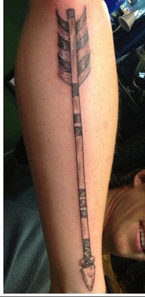 Long Old Arrow Tattoo On Arm (2)
