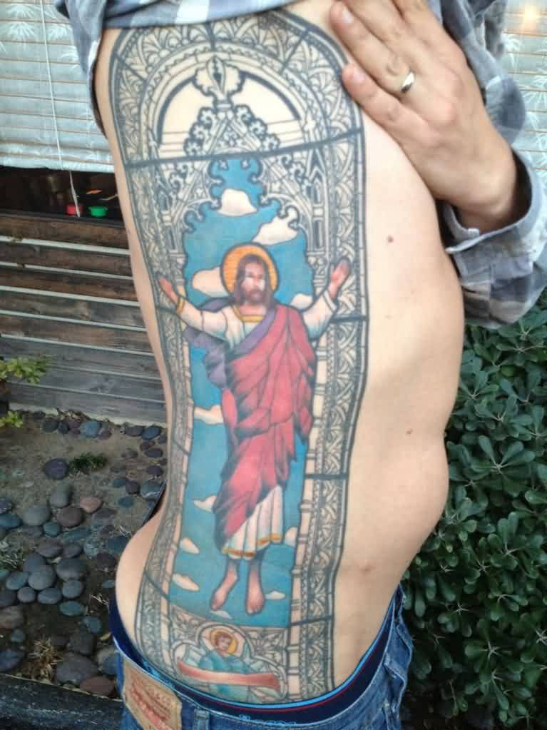 Long Stained Glass Jesus Tattoo On Ribs